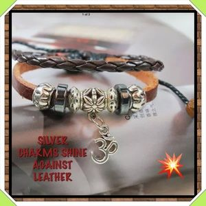 🆕✅ LEATHER BRACELET WITH SILVER BEADS.